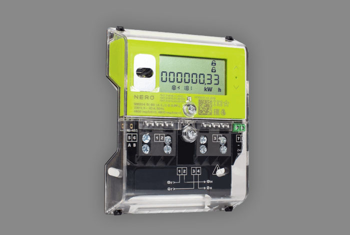 Single-phase multifunction meter with optical port in package of Artemy Lebedev Studio design. According to customer request, it can be equipped with various interfaces