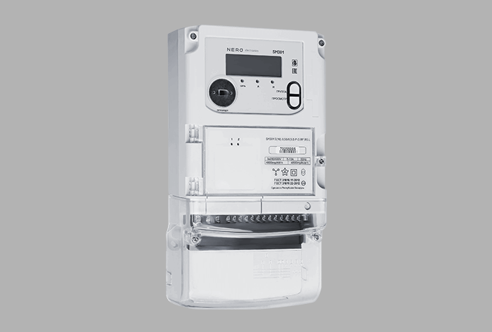 Three-phase meter in standard package with built-in hub