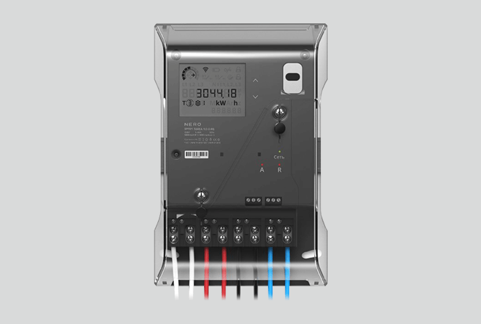 Three-phase system multifunction meter with optical port in package of Artemy Lebedev Studio design