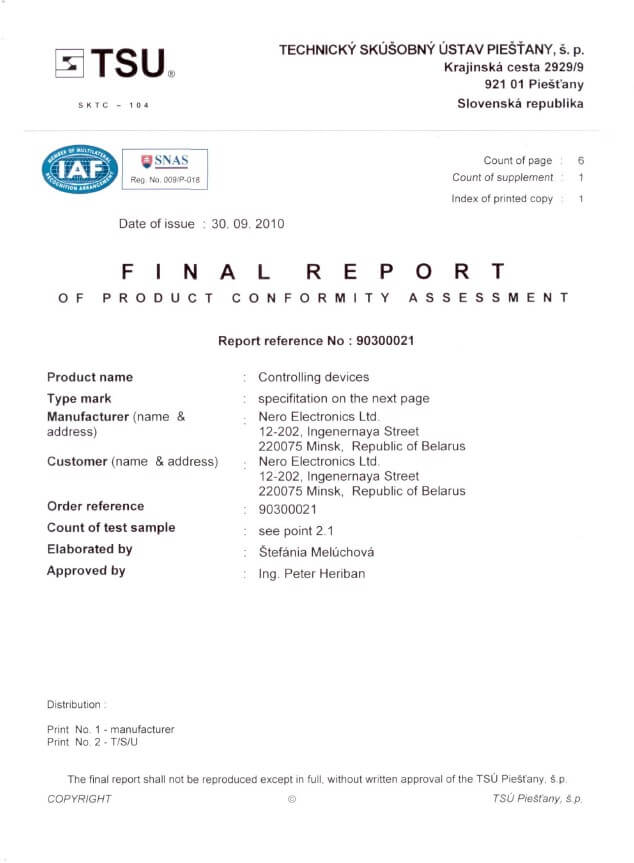 Final report on conformity assessment of control devices